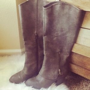 Taupe / Grey Jellypop Knee High Heeled Boots